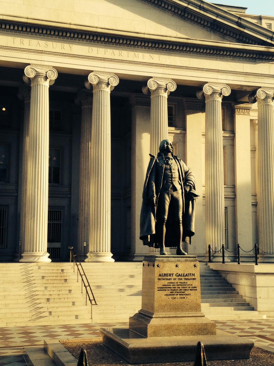 Albert Gallatin statue outside of US Treasury Building