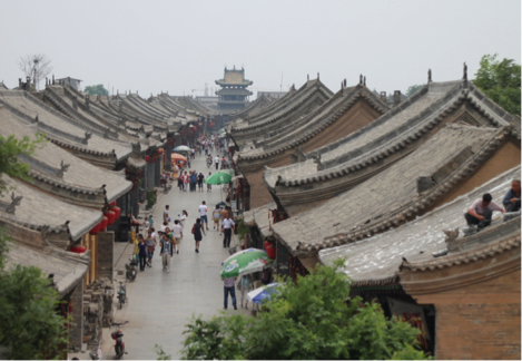 aerial view of roofs on main street in the ancient city of Pingyao
