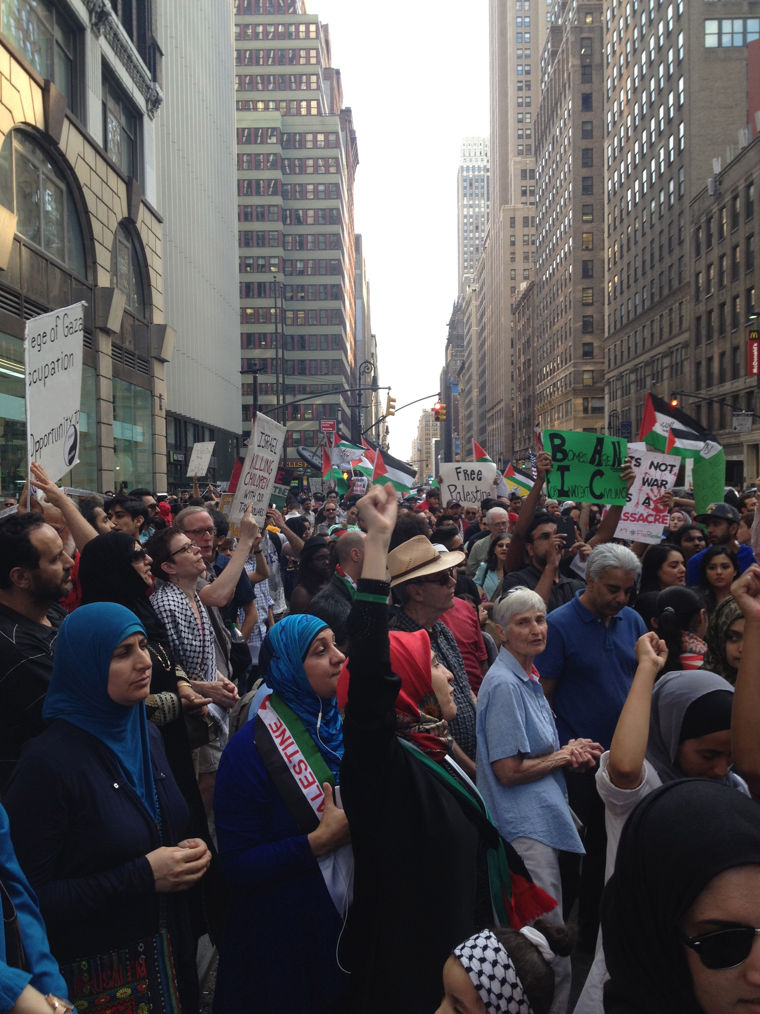 crowd of protesters in Times Square supporting Gaza