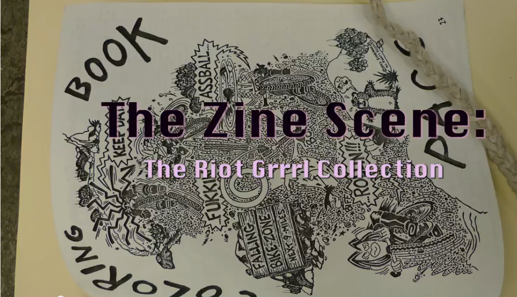 "coloring book cover overlayed with the words ""The Zine Scene: The Riot Grrrl Collection"""