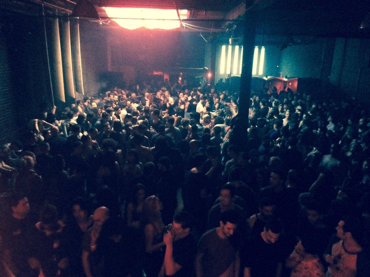 aerial shot of room filled with people