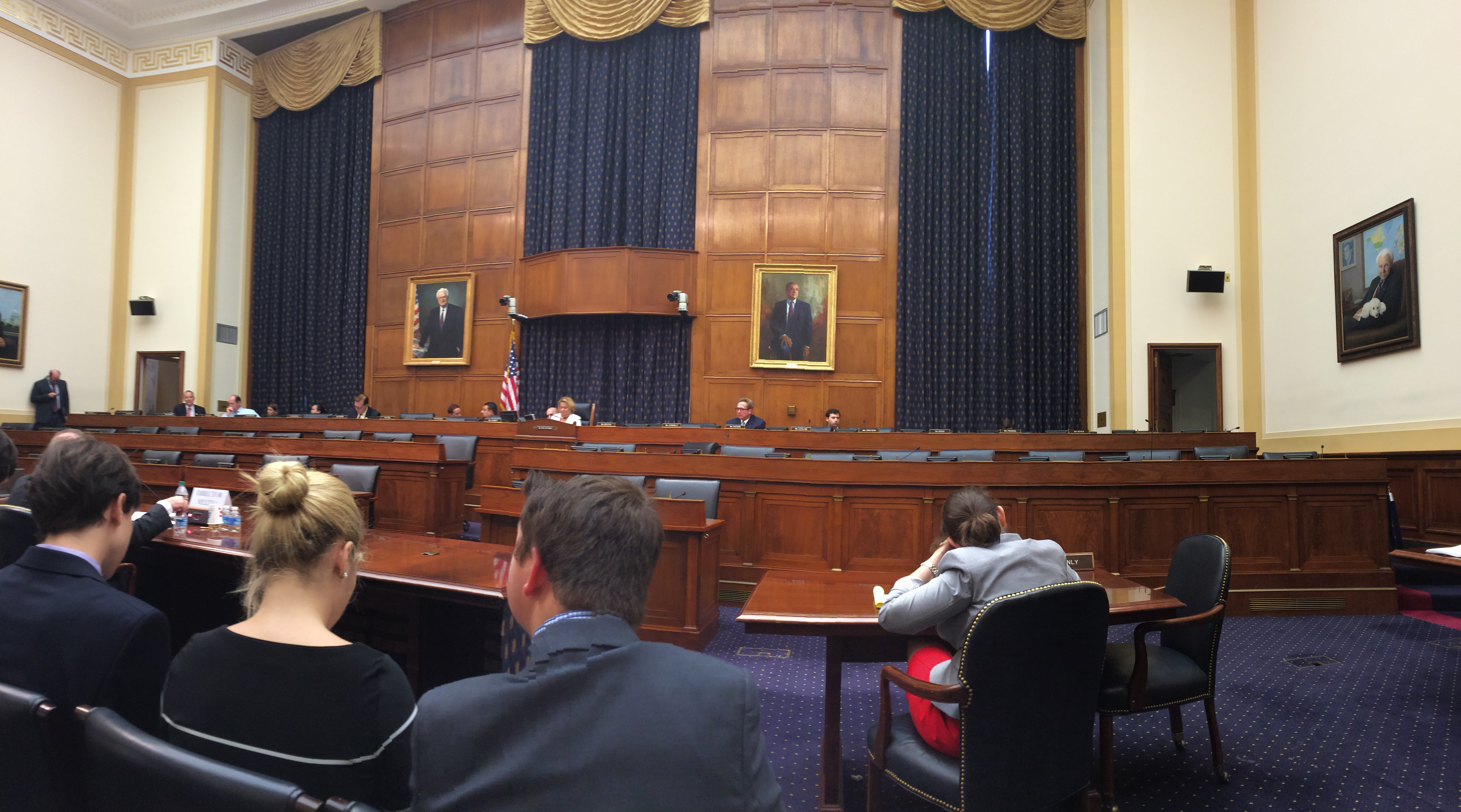 inside of government building with Senate subcommittee hearing occurring