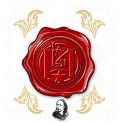red wax seal design with gold designs around it and a B&W picture of a person underneath it