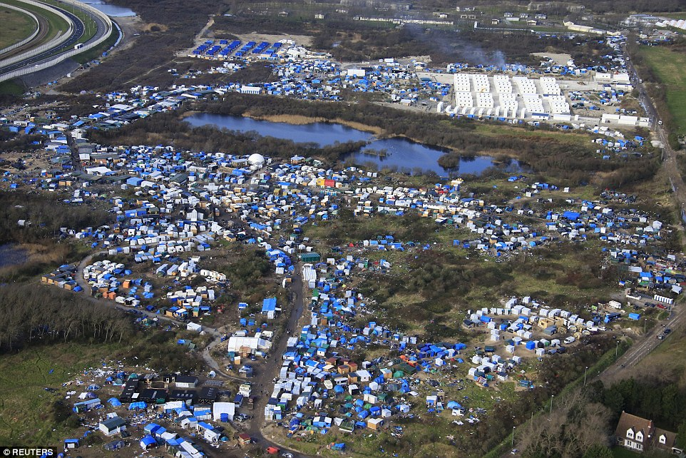 aerial shot of Calais 'Jungle' in France
