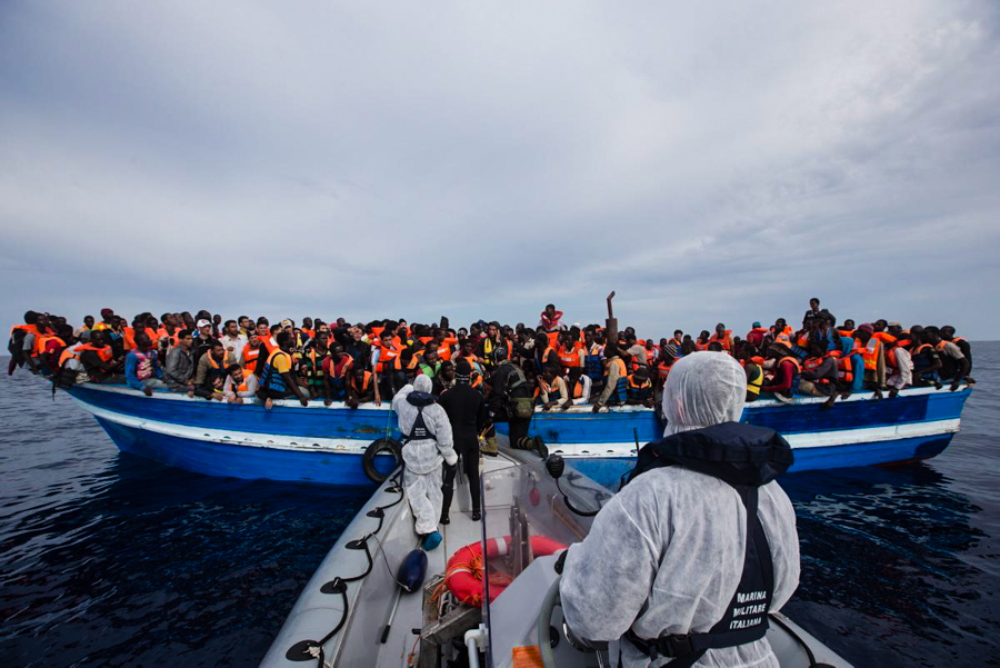 rescue boat filled with people