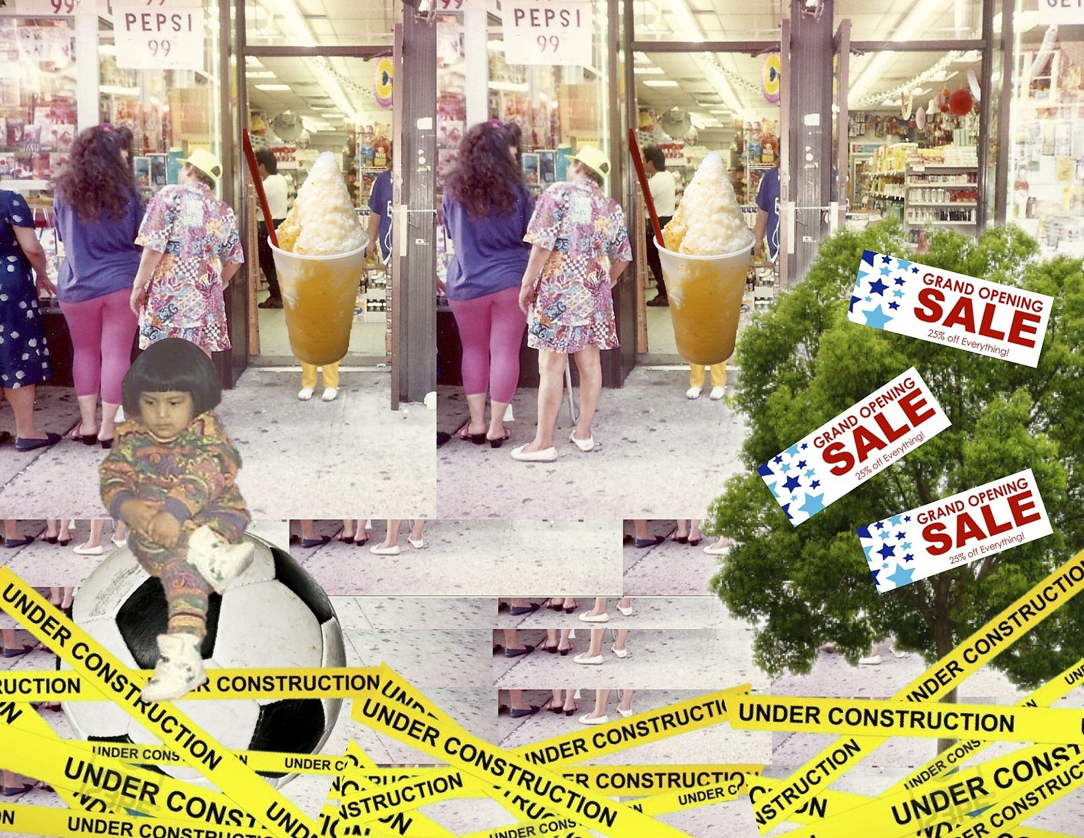 collage with people, building, under construction tape, grand opening sale signs, and more