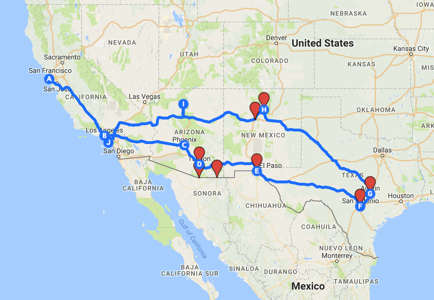 route between California and Texas