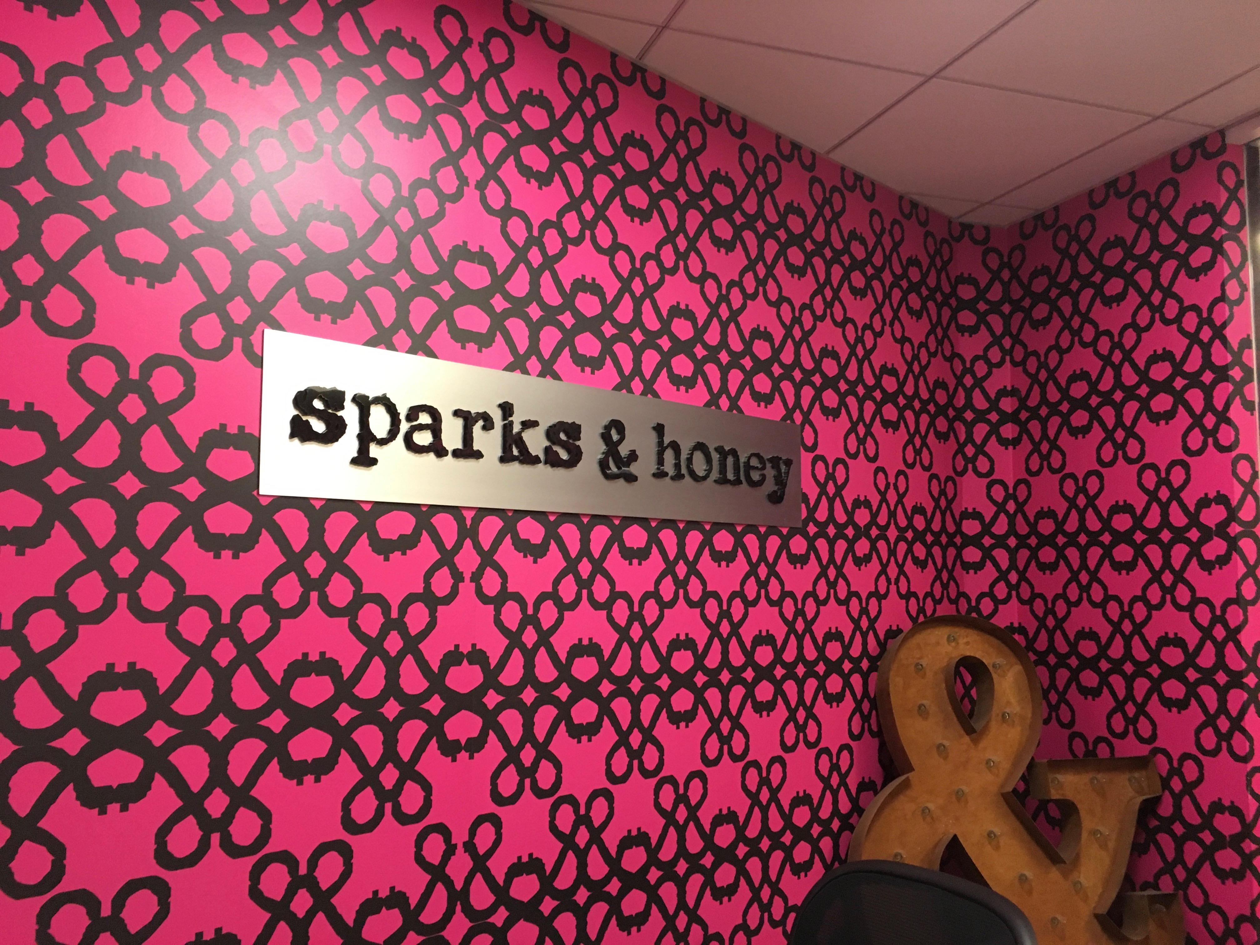 "pink wall and sign that says ""sparks & honey"""
