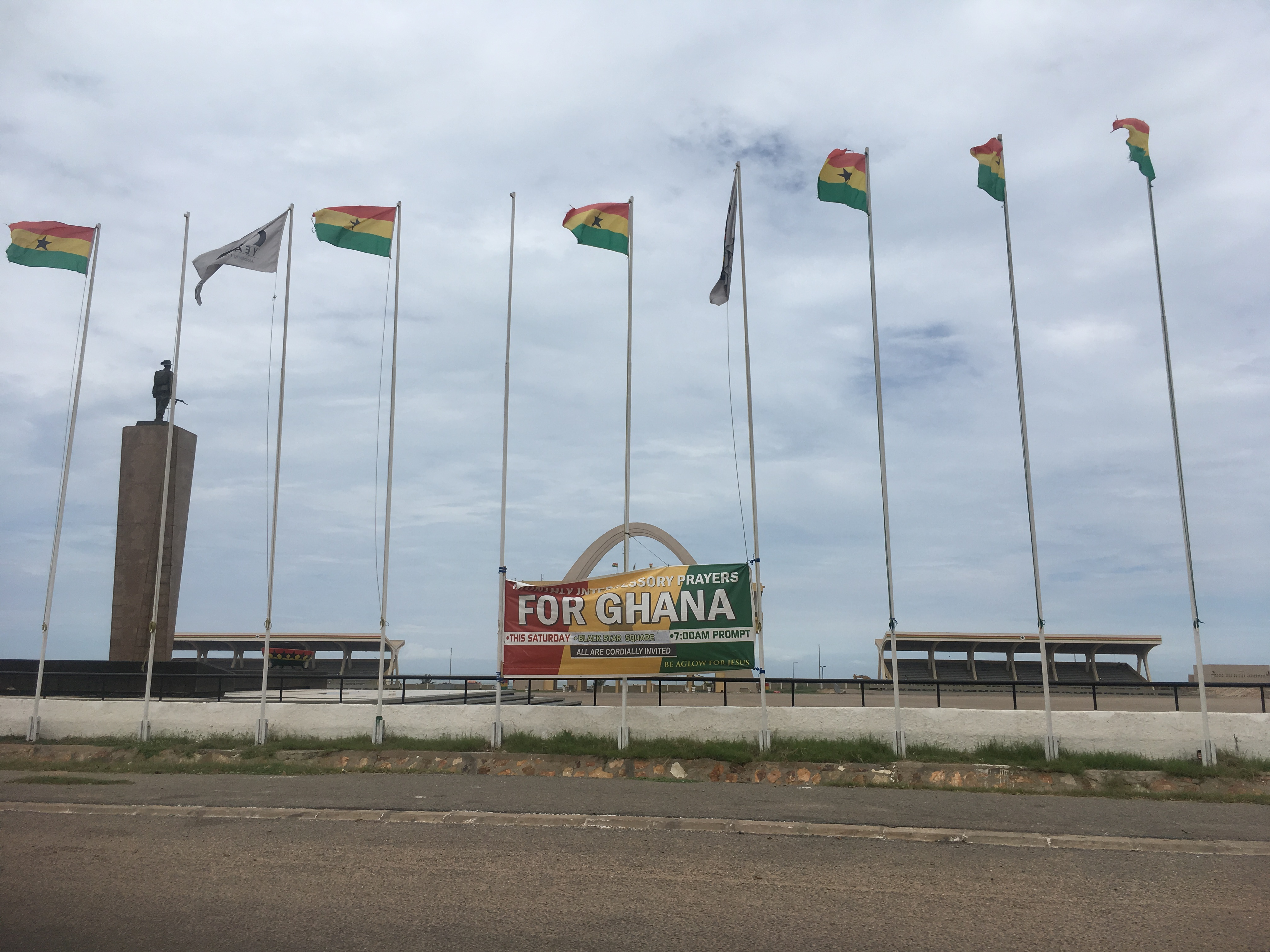 flags and For Ghana banner