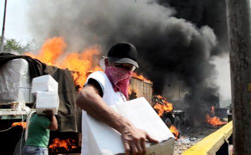 Aid Truck destroyed in Venezuela